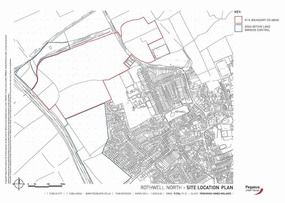 Location plan showing site of Rothwell North planning application KET/2007/0461