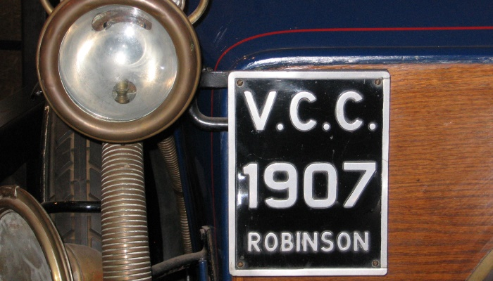 Close up of old car and number plate