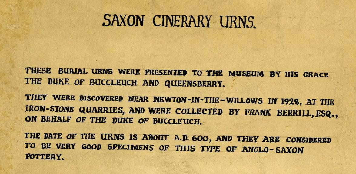 Handwritten Saxon urns label from the Museum