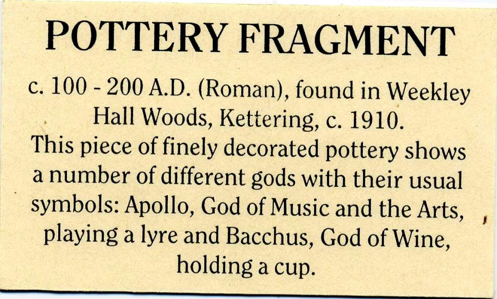 Word-processed label for a pottery fragment in the museum